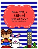 Noun, Verb, + Adjective Sorting Cards
