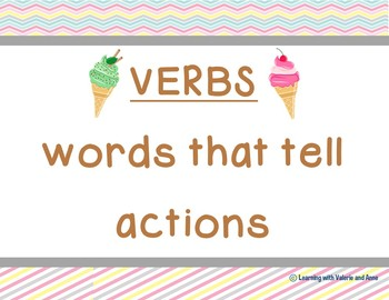 Noun Verb Adjective Sorting Cards DOLCH sight words HUGE SET ice cream theme