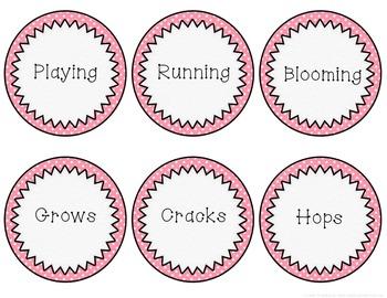 Noun, Verb & Adjective Spring Sort