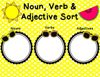 Noun, Verb & Adjective Summer Sort