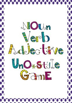 Noun, Verb, Adjective UNO Style Game *Parts of Speech*