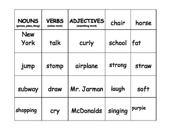 Noun - Verb - Adjective Word Sort