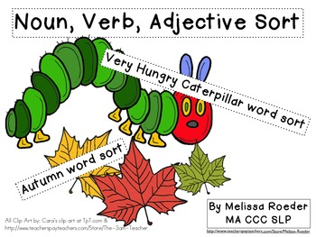 Noun, Verb, Adjective Word Sort: Very Hungry Caterpillar &