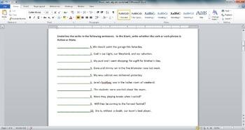 Noun, Verb, Adjective, and Adverb Worksheet