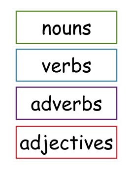 Noun Verb Adverb Adjective Sort
