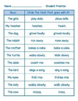 Noun Verb Agreement Activities