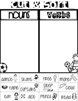 Noun & Verb Literacy Center & No Prep Printables!