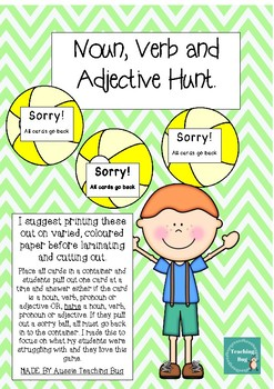 Noun, Verb, Pronoun and Adjective Hunt