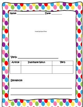Noun Verb Relationship Graphic Organizer Packet