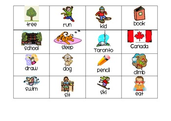 Noun Verb Sort with Pictures