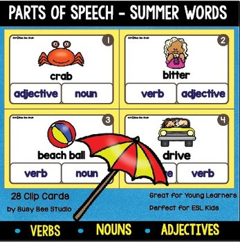 Noun, Verb and Adjective Clip Cards (Summer Words)