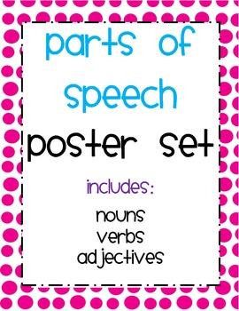 Noun, Verb and Adjective Poster Set