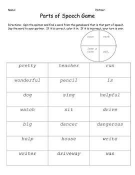 Noun, Verb, and Adjective Review Game