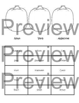 Noun, Verb, & Adjective Pumpkin Sort