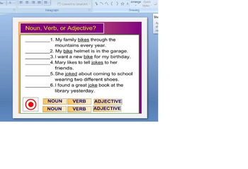 Noun, Verb, or Adjective Exercise for Powerpoint