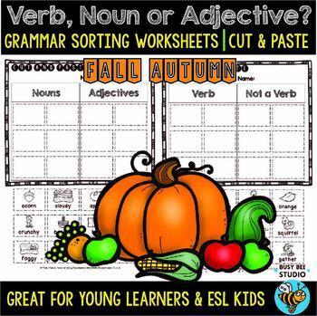 Noun, Verb or Adjective Sorts | Grammar Worksheets | Fall Words