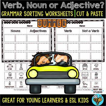 Noun, Verb or Adjective Sorts | Grammar Worksheets | Summer Words