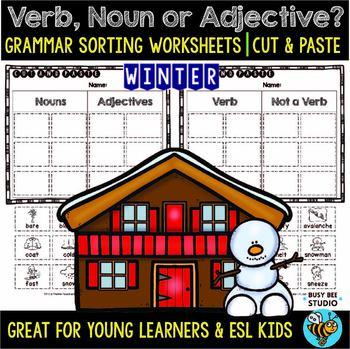 Noun, Verb or Adjective Sorts | Grammar Worksheets | Winter Words