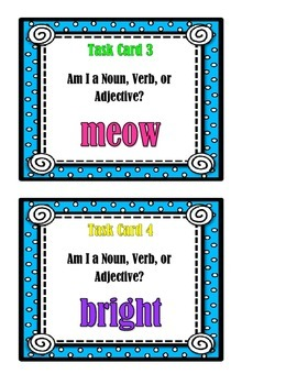 Noun, Verb, or Adjective Task Cards