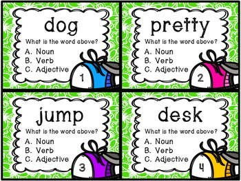 Noun, Verb, or Adjective Task Cards