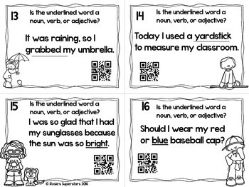 Noun, Verb, or Adjective Task Cards With Optional QR Codes