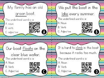 Noun, Verb, or Adjective? Task Cards {With or Without QR Codes}