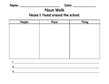 Noun Walk Sheet