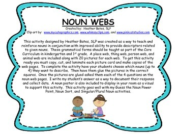 Noun Webs - Person, Place, Thing, Animal