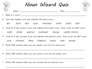 Noun Wizard Task Cards and Quiz