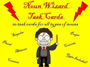 Noun Wizard Task Cards and Quiz