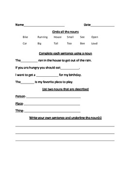 Third Grade Noun Worksheet