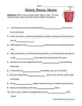 Noun Worksheet