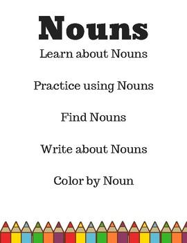 Noun Worksheet Set, Noun Unit, Nouns, Nouns Printable, Nouns Activities