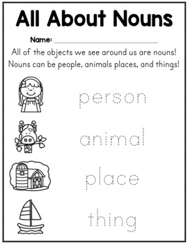 noun worksheets person animal place or thing by amanda 39 s little learners. Black Bedroom Furniture Sets. Home Design Ideas
