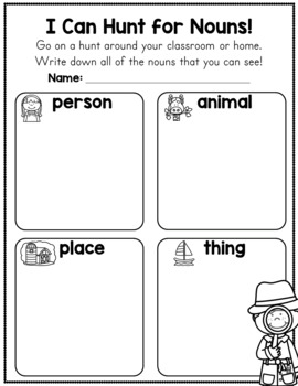 Noun Worksheets - Person, Animal, Place, or Thing?
