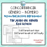 Noun adjective agreement Exit Slip Spanish