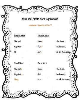 Noun and Action Verb Agreement Center Activity