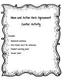 Noun and Action Verb Agreement Center Activity