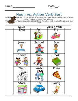 Noun and Action Verb Sort