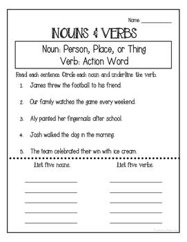 Noun and Verb Assessment