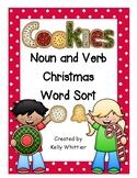 Noun and Verb Christmas Cookie Word Sort