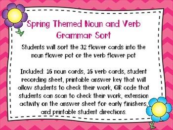 Noun and Verb Grammar Sort for Spring