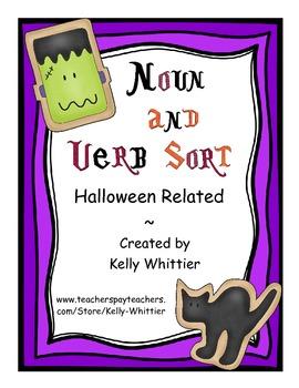 Noun and Verb Halloween Cookie Word Sort