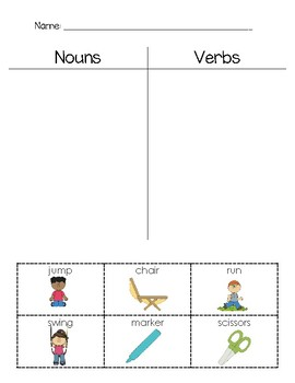 Noun and Verb Practice Sheets