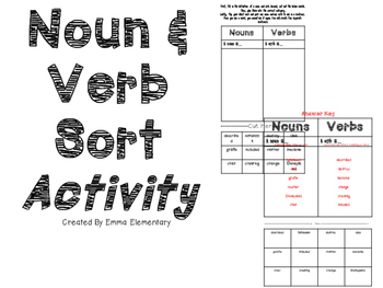 Noun and Verb Sort Activity