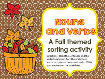 #thirdgradetribe Noun and Verb Sort - Fall Themed