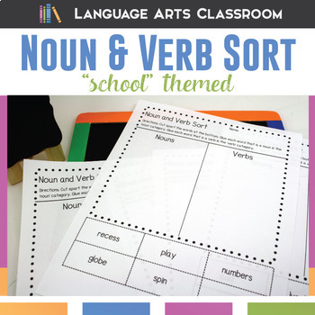Noun and Verb Sort - School Themed