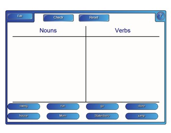Noun and Verb Sort for SmartBoard Common Core Reading