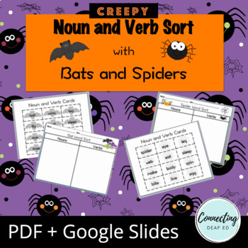 Noun and Verb Sort with Bats and Spiders