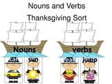 Noun and Verb Thankgiving Themed Word Sort Daily 5 Word Work Activity
